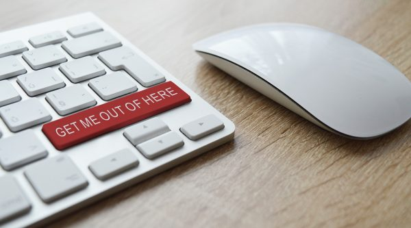 Panic attack response depicted in 'get me out of here' slogan and red button symbolising panic and alarm